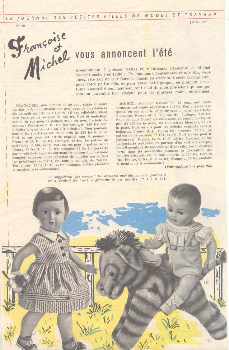 PAR AMOUR DES POUPEES :: M&T 1957-06 Françoise et Michel vous annoncent l'été (couture)