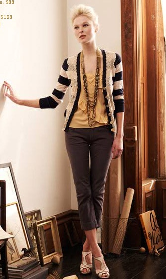 Anthropologie Outfit: Sweaters, Fashion, Stripes Cardigans, Style, Clothing, Pants, Fall Outfit, Anthropology Outfit, Long Necklaces