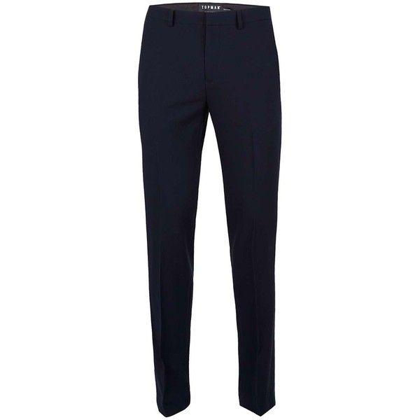 TOPMAN Navy Wool Mix Skinny Fit Suit Trousers ($61) ❤ liked on Polyvore featuring men's fashion, men's clothing, men's pants, men's dress pants, blue, mens blue pants, mens zipper pants, mens skinny dress pants, mens zip off pants and old navy mens pants