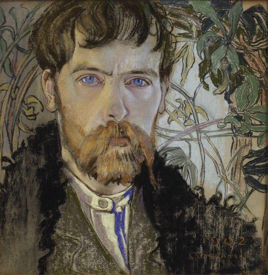 Stanisław Wyspiański (Polish, 1869-1907), Autoportret [Self-portrait], 1902. Pastel,  35 x 35 cm.