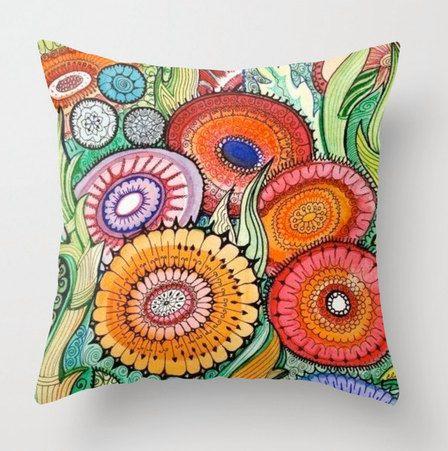 Fleurs taie d'oreiller floral lunatique par sublimecolors sur Etsy