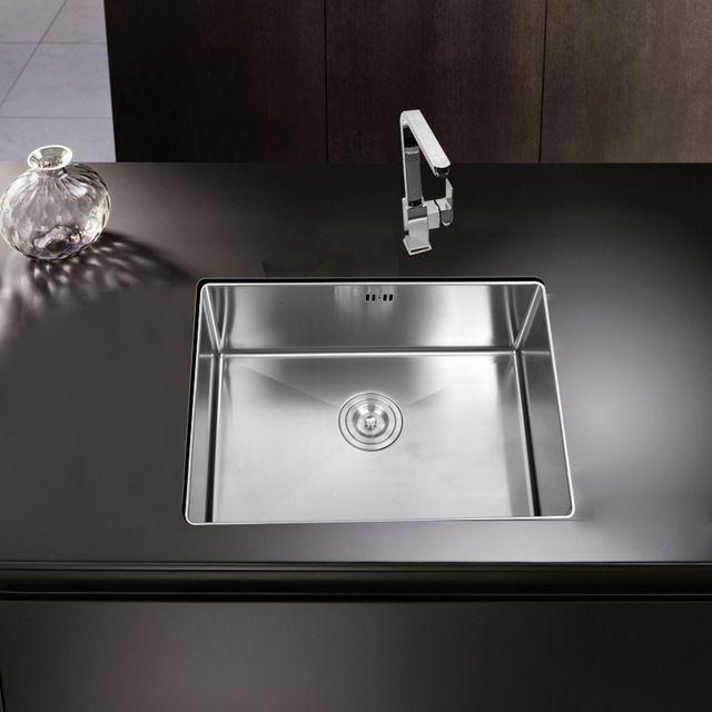 Кухонная раковина undermount Ручной щеткой бесшовные 304 из нержавеющей стали одной миски Рисунок drainer сварки раковина большой мыть посуду