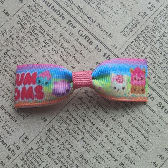 This listing is for 3 popular character hair bow: made with 7/8(22mm) grosgrain ribbon attached securely onto a elastic ponytail holder or alligator clip.  This bow is perfect for party favors! If youre ordering large quantity plz contact me first. I can packaged individually with no extra cost.  I also do have another listing of NUM NOMS so plz take a look!!  Ill be listing more unique handmade bows in next few weeks so stay tune