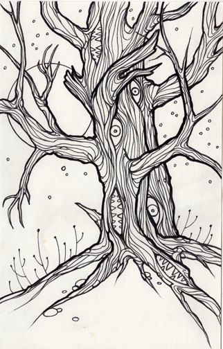 ya te veo, man eating tree, cryptid, cryptozoology,  horror art, coloring book page