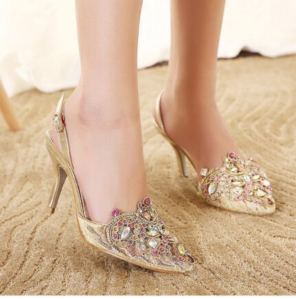 2015 rhinestone pointed toe hot selling thin heels in high heeled sandals  female gold bridesmaid bride