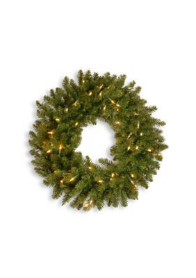 National Tree Company 30-In. Kingswood Fir Wreath With Led Lights - Green - One Size