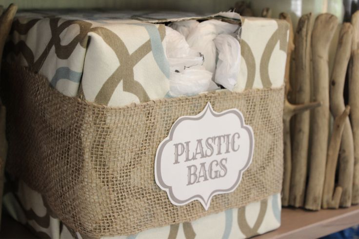 Plastic Bag Storage Bin Holder ...totally making this to corral the gazillion plastic bags that are currently stored in a big old paper Hollister shopping bag that has seen better days