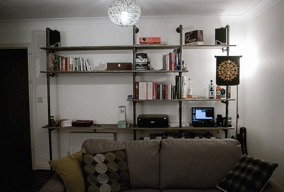 Built in home office gas pipe desk unit with shelving vintage industrial pole style made to order bespoke