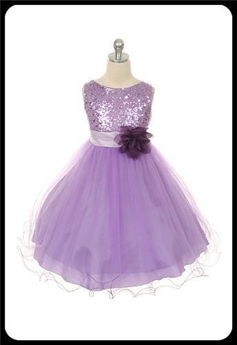Lavender Flower Girls Dress w. Sequin Bodice & Double Ruffled Hem