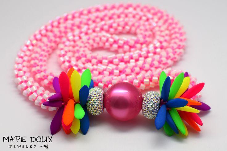 Swarovski strass, UV-active neon beads, Miyuki Delica beads, hand-crocheted. #necklace #crochet #swarovski #strass #neon #miami #handmade www.mapiedoux.com