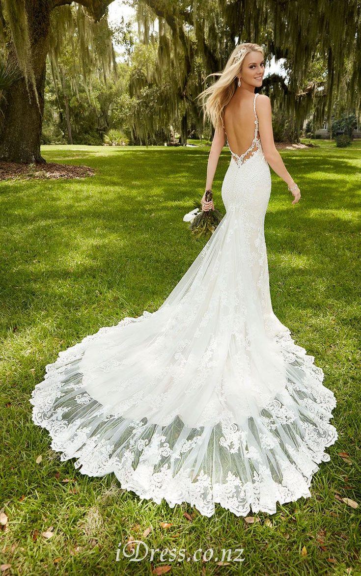 Spaghetti Straps Long Tail Sexy Low Back Mermaid Lace Wedding Dress