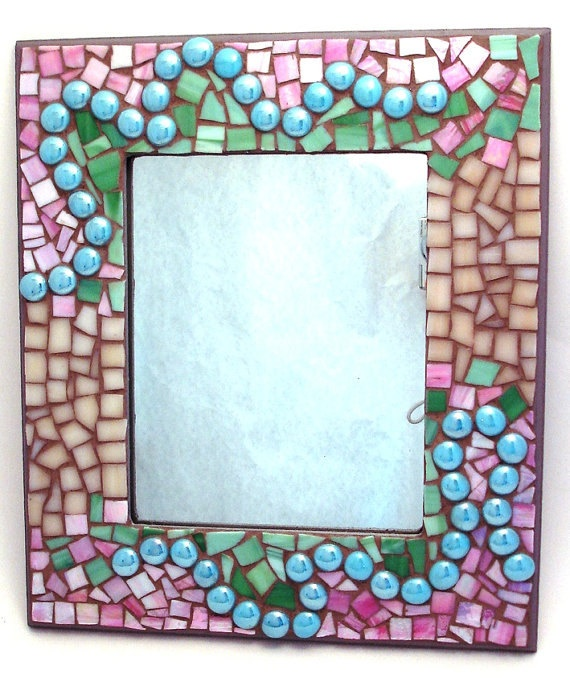 items similar to mosaic art glass wall mirror hand crafted ooak aqua green pink on etsy - Mosaic Picture Frames