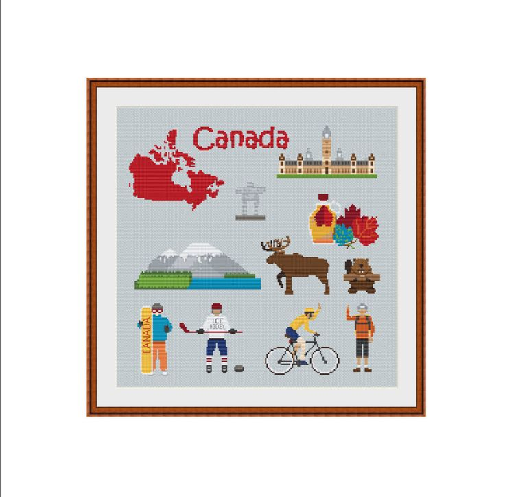 Cross stitch pattern, Canada, Canada map, Ottawa, Ottawa Ontario, Maple syrup, Maple leaf, Canada hockey, Canada DIY, City cross stitch, PDF by StitcheryStitch on Etsy