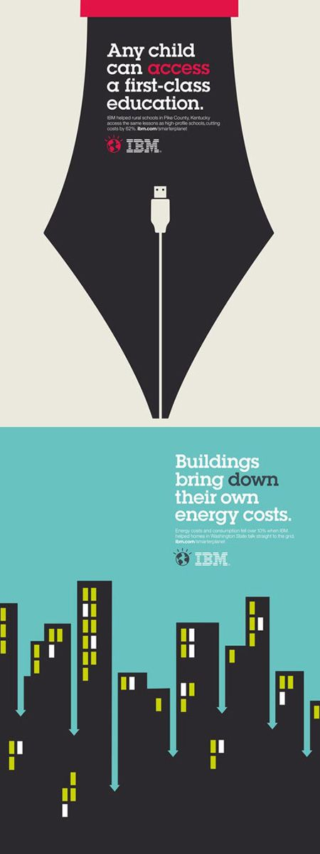 IBM Smarter Planet campaign used typeface by Herb Lubalin. Ogilvy ad for IBM. Love the negative space. Noma Bar