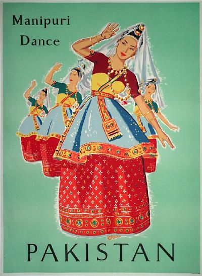 Pakistan, 1959. Manipuri dance is one of the major Indian classical dance forms. It originates from Manipur, a state in north-eastern India on the border with Burma.