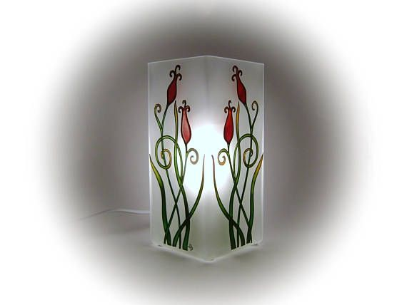 Tulips Mood Light Floral Table Lamp Glass Lamp Shade