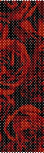 Roses on Black Even Count Peyote Stitch Digital Download Pattern
