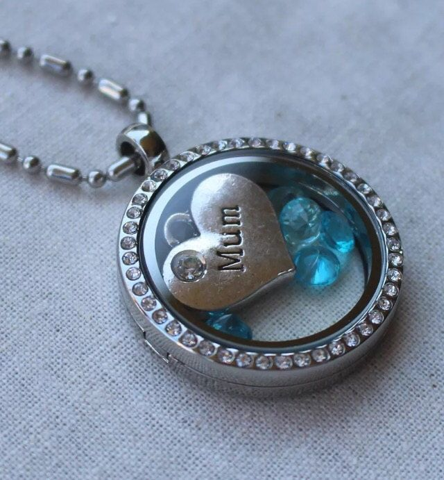 Floating necklace mum blue by Giftitright on Etsy
