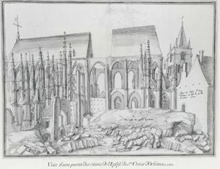 Étienne Martellange (1569-1641) ....  View of the Ruins of Sainte-Croix in Orléans, .... Black chalk with pale grey wash on off-white paper.  Sheet: 408 x 550 mm ....  Inscribed in black chalk at upper centre: 4; and at lower right: 45; and in brown ink at lower right of centre: Du coste du grand Cymetiere; and at centre right: Aspet de lEglise Ste Croix / dOrleans du coste du grand / Cimetiere 1622; and at lower left: