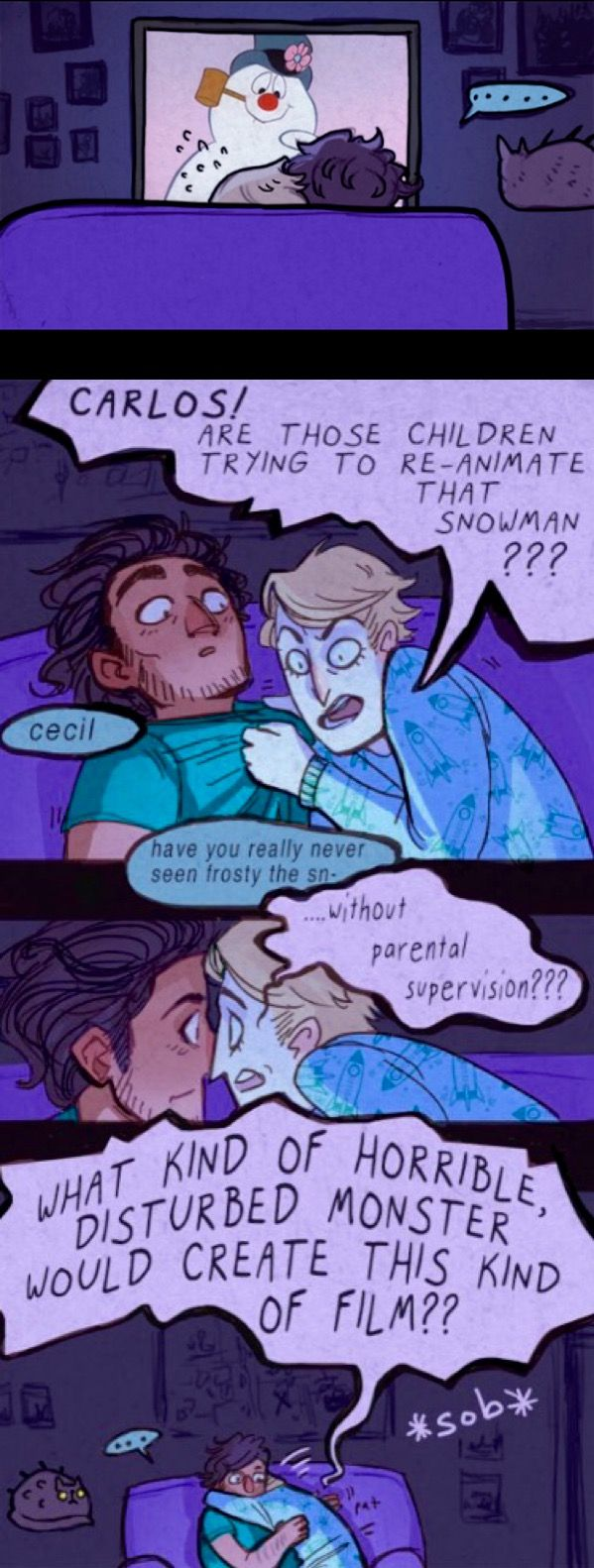 Welcome to Night Vale comic Carlos and Cecil watching Frosty the snowman by harlequinpants on Tumblr