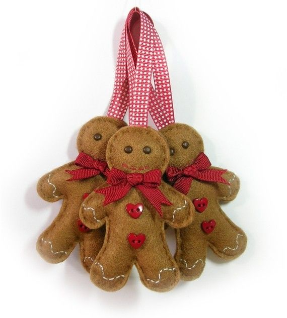 Felt Gingerbread Man Christmas Decoration by bagladee on Etsy, £6.50
