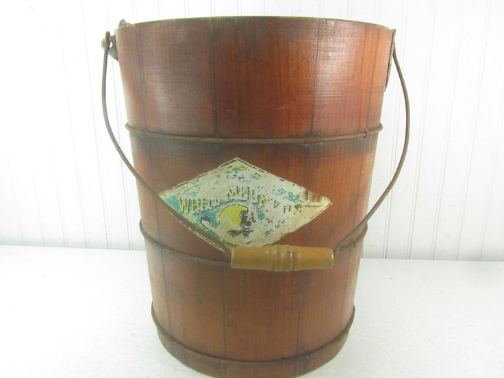 White Mountain Wood Bucket, Ice Cream Bucket, Farmhouse Decor, Rustic Decor, Wood Water Bucket, Old Ice Cream Maker Bucket by KarensChicNShabby on Etsy