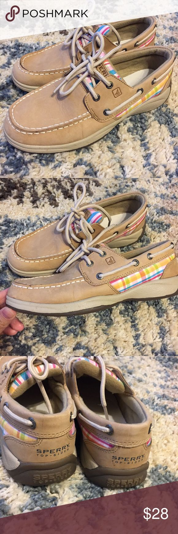 Girls Sperrys! Girls leather sperrys! So cute tan leather with pink plaid accents! Worn only a few times! Over all really great condition! Girls size 3. Sperry Top-Sider Shoes
