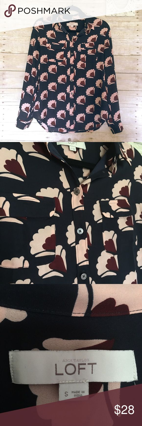 LOFT | Navy Fanfare Utility Blouse Ann Taylor LOFT | Dark navy blue blouse with light pink and maroon fan designs. It has two pockets on either side of the chest. Light and soft material in perfect condition! LOFT Tops Button Down Shirts