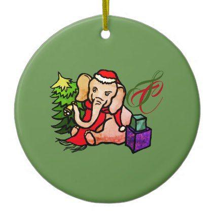 #Cute Monogram Santa Cartoon Christmas Elephant Ceramic Ornament - #cute #gifts #cool #giftideas #custom