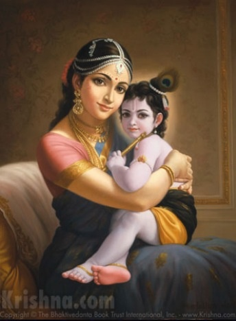 Baby Krishna held by Mother Yasoda
