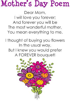 Mother's Day Poem - free download to create a poster for students to read