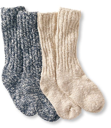 L.L. Bean Women's Cotton Ragg Camp Socks,Two-Pack in Navy/Cream $20 (these socks specifically, not just any socks!)