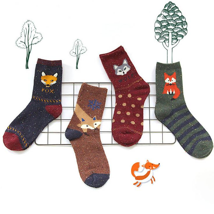 12pairs Animal Wool Socks Winter Autumn Women Owl Cat Deer Fox Wolf Cartoon Patterned Sock Cute Thermal Socks free shipping