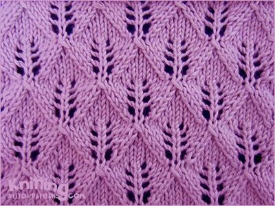 Fern or Leaf-Patterned Lace kniting stitch - http://www.knittingstitchpatterns.com/2014/09/leaf-patterned-lace.html