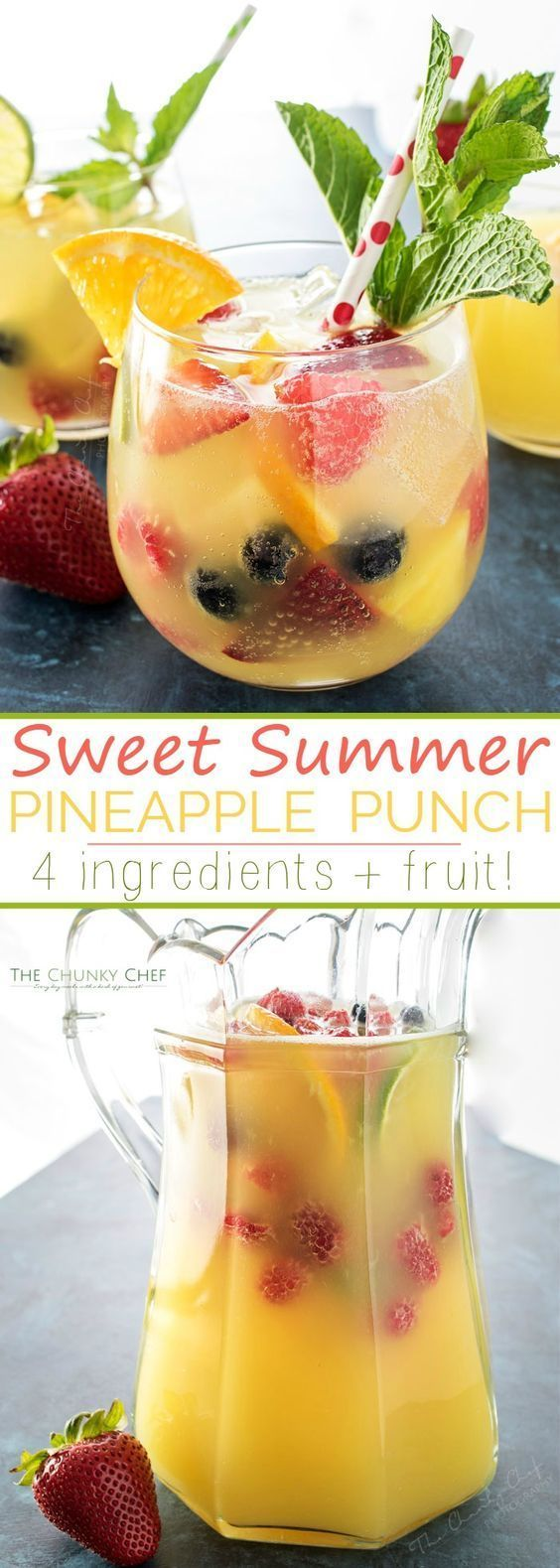 Summer Pineapple Punch | This sweet and easy to make pineapple punch will be the hit of any party! Just 4 simple ingredients plus fresh fruit and pretty garnishes! | http://thechunkychef.com