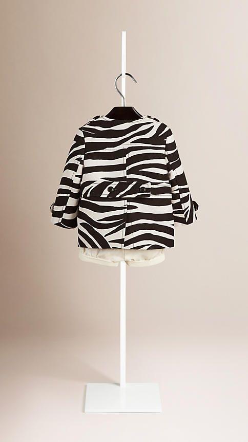 Negro/blanco Abrigo de corte globo en lino y algodón con estampado de cebra y cuello mao - Imagen 3
