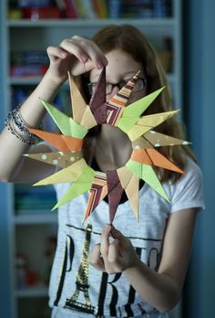 Origami Starburst Wreath for Fall