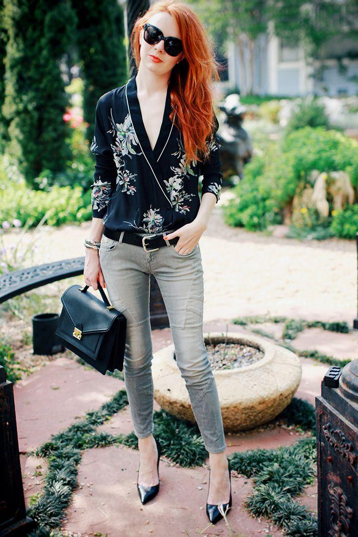 Zara top,  Maison Scotch skinny jeans, Manolo Blahnik BB pumps, Loeffler Randall 'Rider' bag