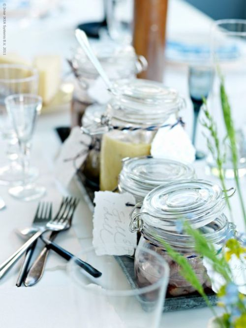 "Rehearsal dinner table decor and guest favors.  ""Personalized"" Glass Favor Jars"