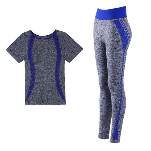 BINAND Stretch Stripe High Elastic Women Yoga Sets Exercise Sportswear Fitness Running Suits Yoga Shirts And Elastic Slim Pants