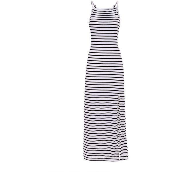 Yoins Stripe Pattern Backless Cami Maxi Dress with Split Hem (22 AUD) ❤ liked on Polyvore featuring dresses, vestidos, yoins, black, striped dress, camisole dress, maxi dresses, backless maxi dress and striped cami