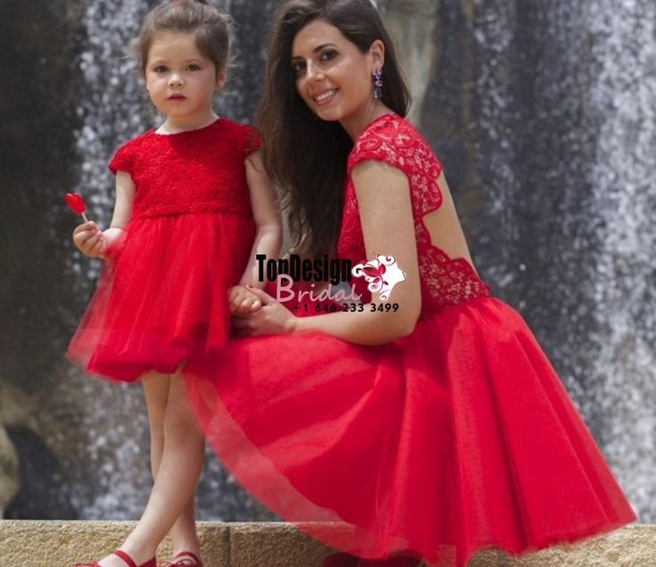 2017 Lace Tulle Short Mother Daughter Matching Dress Evenning Red Prom Party Dresses – Wilma Miller