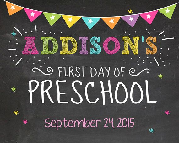 First day of school sign First day of preschool chalkboard Kindergarten Purple…