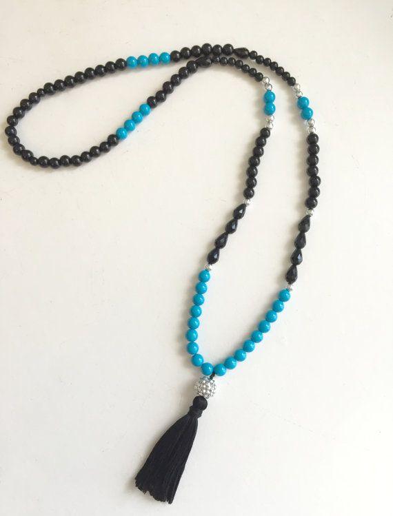 Carolina Panthers Tassel Necklace . Panthers Colors . Carolina Tassel Necklace . Panthers Gear . GameDay Jewelry . Carolina Panthers Jewelry
