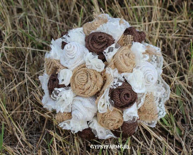 GypsyFarmGirl: tan, cream, and chocolate brown burlap and lace wedding bridal bouquet for country farm or barn wedding.