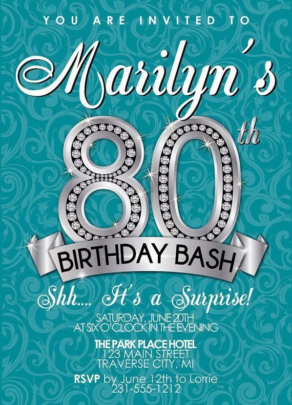 80th Birthday Invitations Ideas | BagVania Invitations Ideas                                                                                                                                                     More