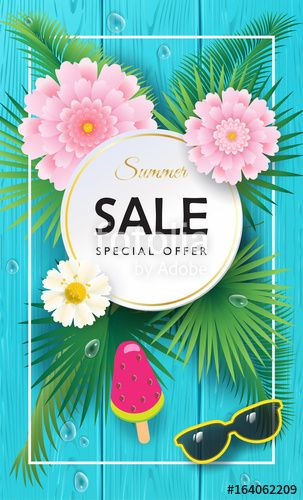 Vector:  Summer Sale special offer beautiful banner. Palm leaves frame with exotic flowers on blue wood texture. Realistic Advertising flyer Vector.