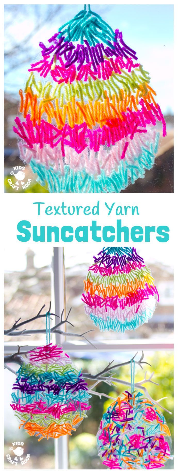 This textured yarn EASTER SUNCATCHER CRAFT is a gorgeous Easter craft or Spring craft for kids of all ages. A simple yarn craft made from scraps, these homemade Easter Egg Suncatchers look stunning in windows or hanging on an Easter tree. These are DIY Ea