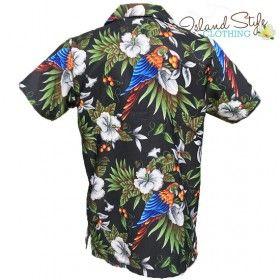 Black Magnum Plus Size Mens Hawaiian Shirts Parrots Big Boy