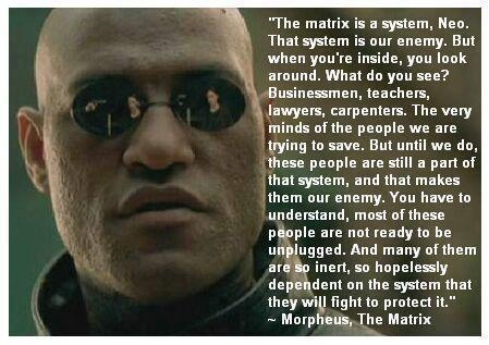 The Matrix: A metaphor for the world we live in. Free yourself, not from the world, just from the matrix.